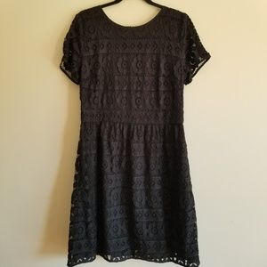 LOFT All Lace Short Sleeved Dress Black
